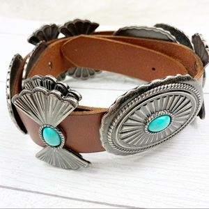 Leather Belt Faux Turquoise Stones Silver Metal